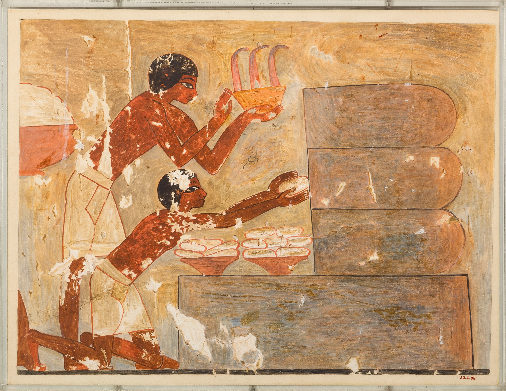 Painting by Nina de Garis Davies, painted in 1930, of the scene in the Tomb of Rekhmire of Workers Removing Honeycombs. Metropolitan Museum of Art, 30.4.88.