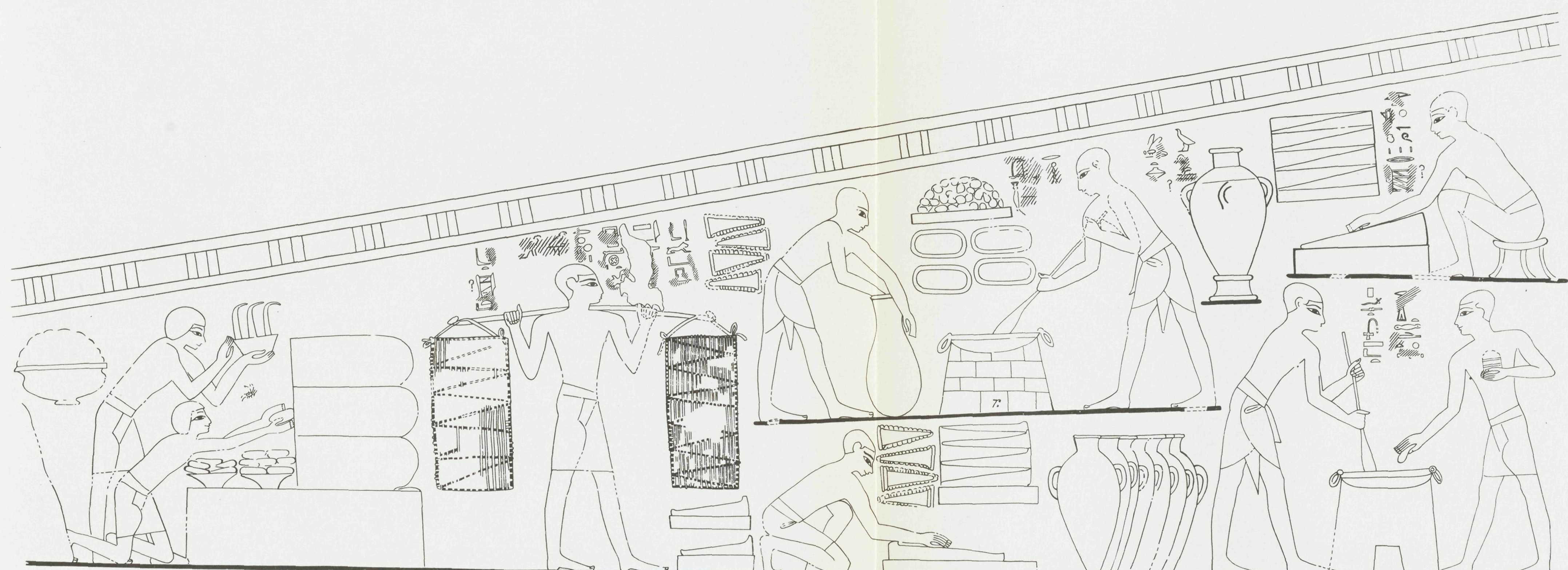 Painting from the Tomb of Rekhmire in the Logitudinal Hall, Eastern Wall, with hieroglyphic Shat (Cake). Drawing by Norman de Garis Davies. Metropolitan Museum of Art, 1943.