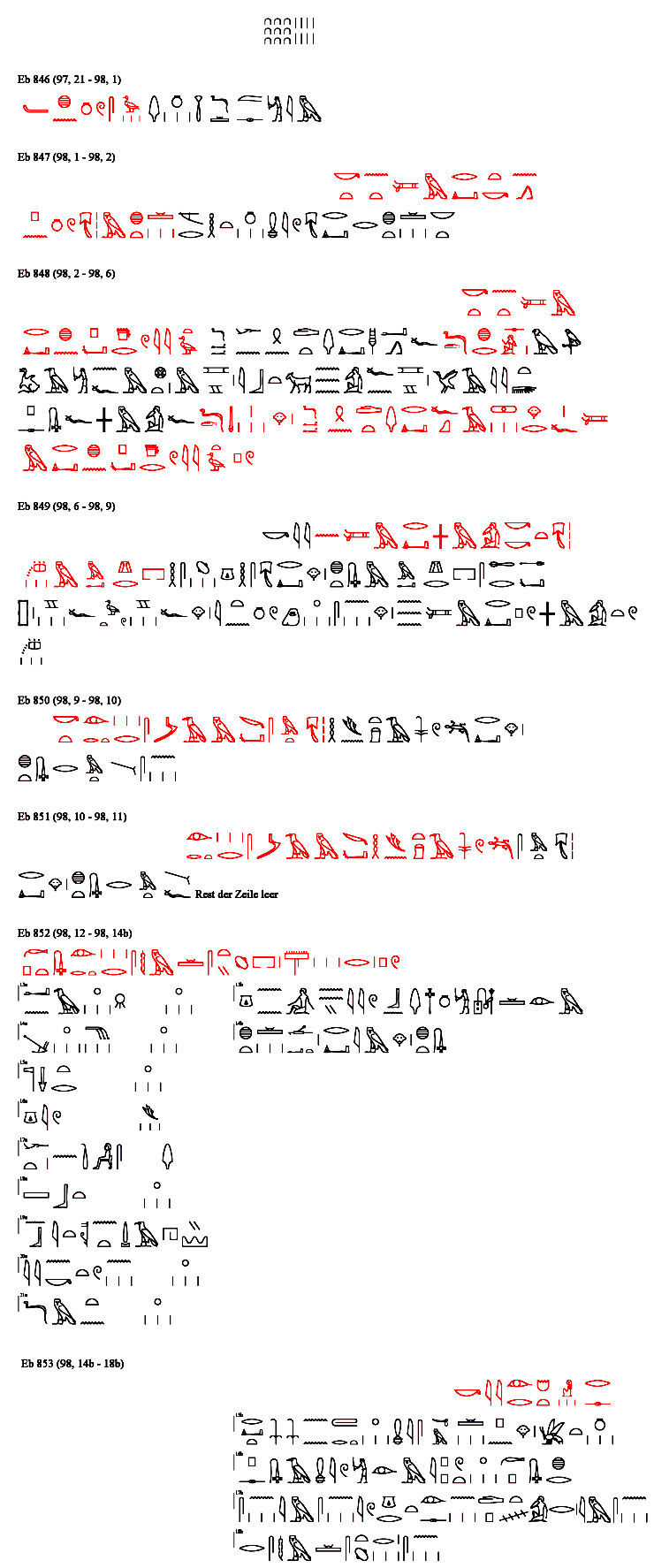 Papyrus Ebers, Hieroglyph Transliteration of Column 098 with the first part of the Kyphi Recipe.