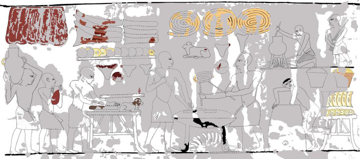 Reconstruction of the bakery scene in chamber Ba, Tomb of Ramses III, KV11 by A. Weber.