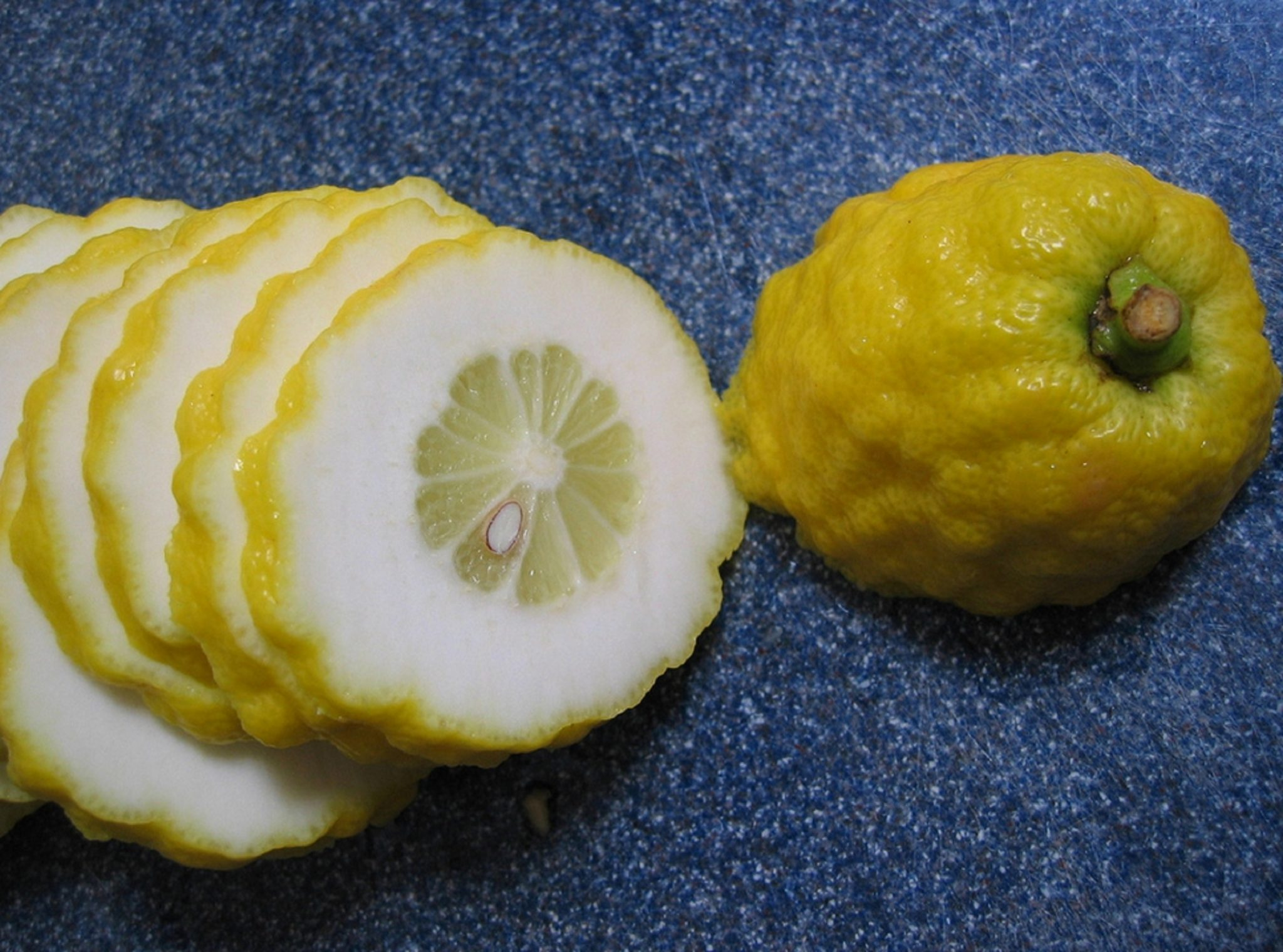 Sliced Citron showing the thick pith