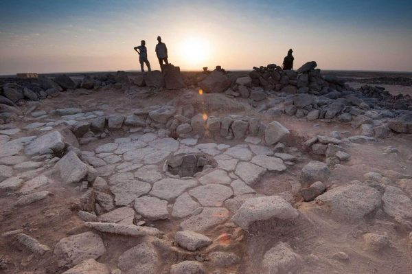 One of the fireplaces where the Shubayqa 1 bread was discovered. Shubayqa 1, Jordan. Photo: Alexis Pantos.
