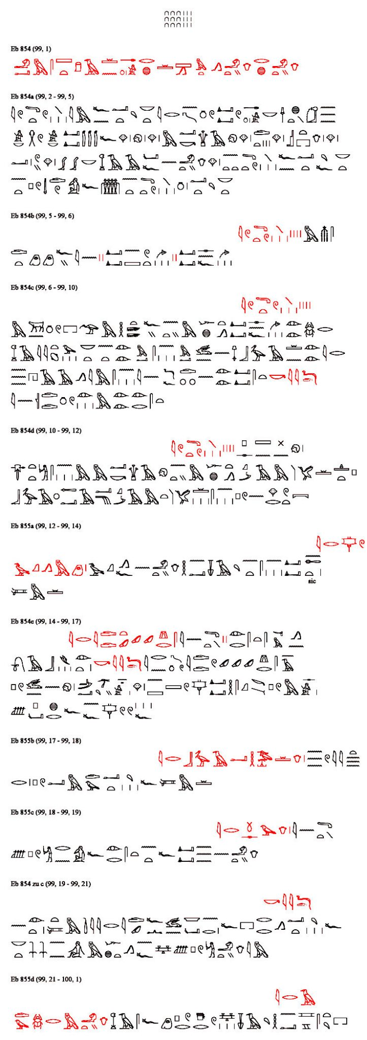 Papyrus Ebers, Hieroglyph Transliteration of Column 099 with the second part of the Kyphi Recipe.